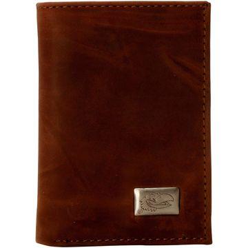 Kansas Jayhawks Leather Trifold Wallet - Brown