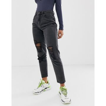 Noisy May distressed mom jean in black-Blue