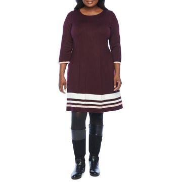 Jessica Howard-Plus Long Sleeve Sweater Dress