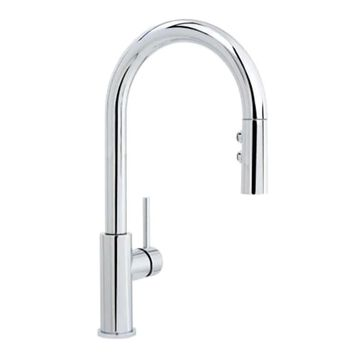 Miseno Mia Polished Chrome 1-Handle Deck-Mount Pull-Down Handle Kitchen Faucet (Deck Plate Included)   MNO191DCP