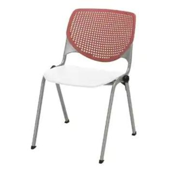 KFI KOOL Poly Stack Chair with Perforated Back (Pink, White)
