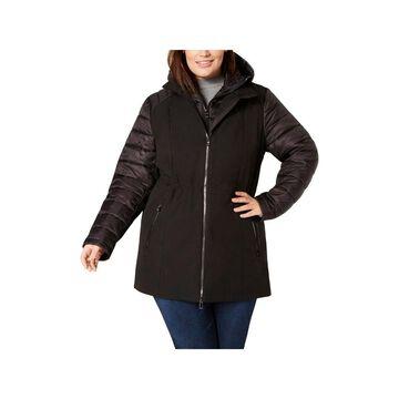 Calvin Klein Performance Womens Plus Soft Shell Jacket Winter Hooded
