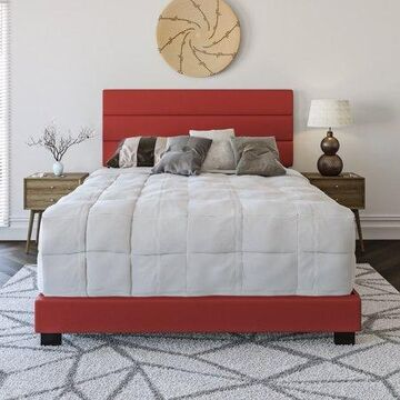 Premier Rapallo Upholstered Faux Leather Tri Panel Channel Headboard Platform Bed Frame, Queen, Red