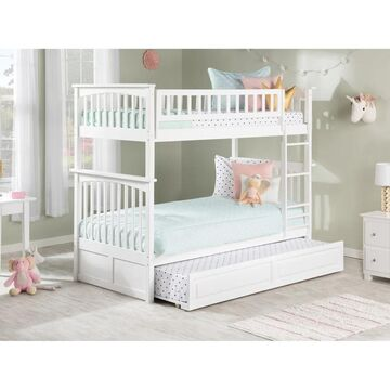 Columbia Bunk Bed Twin over Twin with Twin Raised Panel Trundle Bed in White