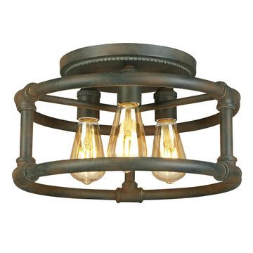 EGLO Wymer 15-in Zinc Incandescent Semi-flush Mount Light | 202851A