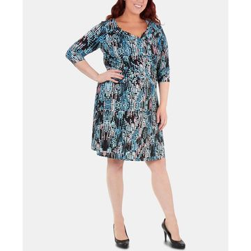 Plus Size Printed Ruched Crisscross Dress