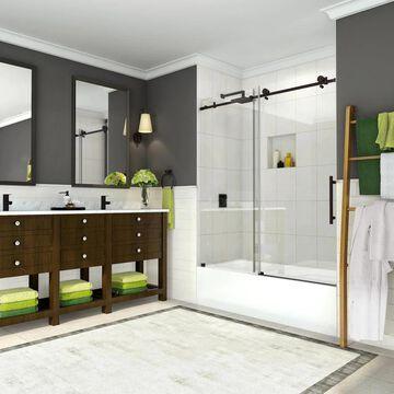 Aston Coraline 56-in to 60-in x 60-in Completely Frameless Sliding Tub Door in New Bronze Stainless Steel   TDR984EZNBR6010