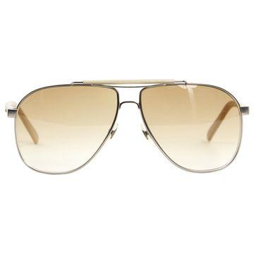 Gucci Ecru Leather Sunglasses