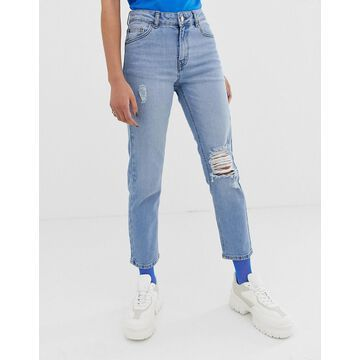 Dr Denim Edie cropped mom jean with rip detail