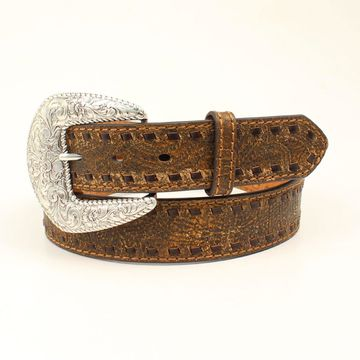 Nocona N3412902-L Ladies Rustic Laced Edge Belt, Brown - Large
