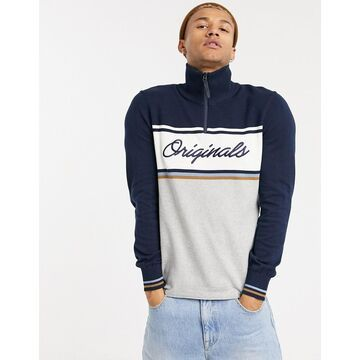 Jack & Jones Originals quarter-zip sweater with front stripe in navy