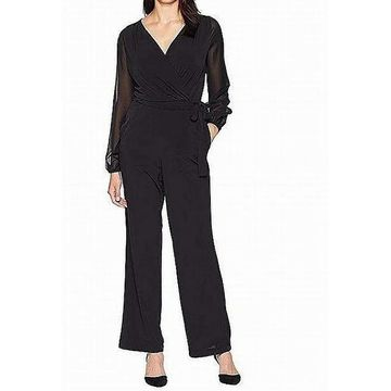 ECI Womens Surplice Large Jumpsuit Sheer Sleeve Stretch