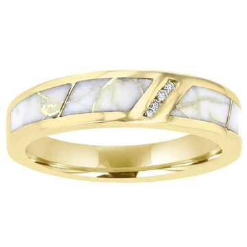 La Vita Vital 14K Yellow Gold & Gold Quartz Inlay and Diamond Ring 0.07ct TDW (SI1-VS, G-H) - White