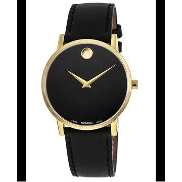 Movado Museum Classic Black Dial Black Leather Strap Men's Watch 0607271 0607271