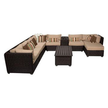 TK Classics Venice 10-Piece Outdoor Wicker Sofa Set, Wheat