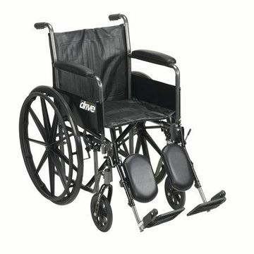 Drive Medical Silver Sport 2 Wheelchair, Detachable Full Arms, Elevating Leg Rests, 20
