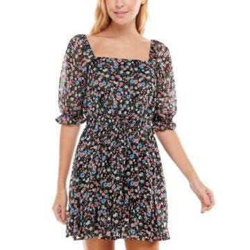 Trixxi Juniors' Floral-Print Godet Fit & Flare Dress