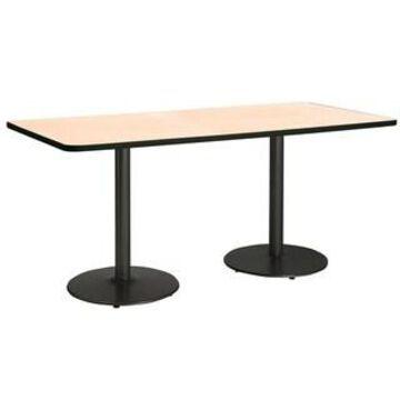 "KFI Mode Multipurpose Table, Round Black Base, Standard Height (42"" x 84"" top - Natural)"