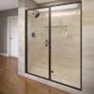 Basco Infinity 58-in to 59-in W Semi-frameless Hinged Oil Rubbed Bronze Shower Door