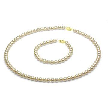 DaVonna 14k Gold Children's 4-5mm Freshwater Pearl Necklace Bracelet Set ( 14 in/ 5.75 in) (White - Whtie - Yellow)
