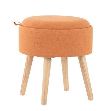 Tray Foot Stool Ottoman Polyester/Wood Natural/Orange - LumiSource