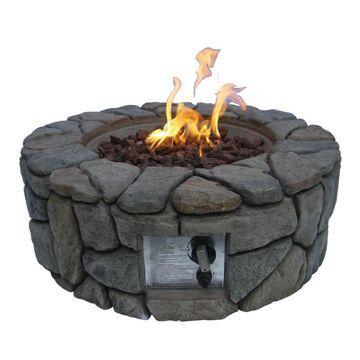 Teamson Propane fire pits 28-in W 40000-BTU Gray Concrete Propane Gas Fire Pit