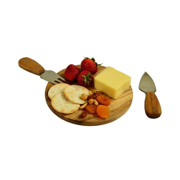 Bristol Acacia Cheese Board and Knife Set in Natural Gift Box