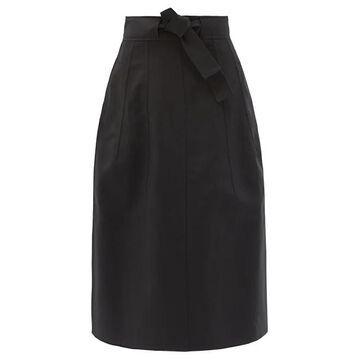 Jil Sander - Belted Cotton Skirt - Womens - Black