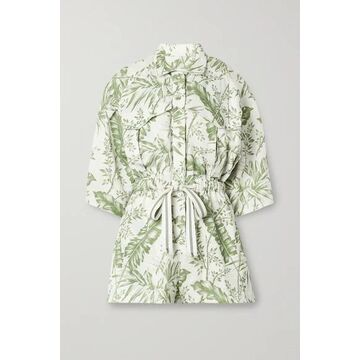 Zimmermann - Empire Printed Linen Playsuit - Ivory