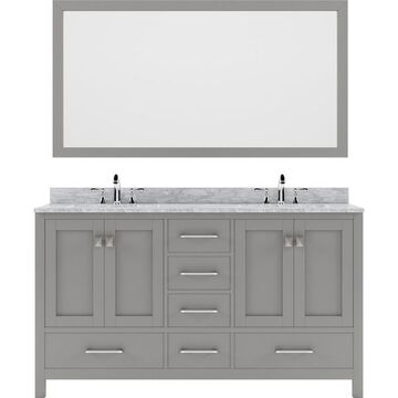 Virtu USA Caroline Avenue 60-in Cashmere Gray Undermount Double Sink Bathroom Vanity with Italian Carrara White Marble Top Mirror and Faucet