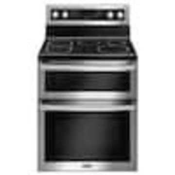 Maytag Smooth Surface-Element 4.2-cu ft / 2.5-cu ft Self-cleaning Double Oven Convection Electric Range (Fingerprint Resistant Stainless Steel) (Common: 30-in; Actual: 29.938-in)
