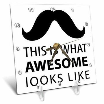 3dRose Awesome Mustache hipster retro black and white art, Desk Clock, 6 by 6-inch
