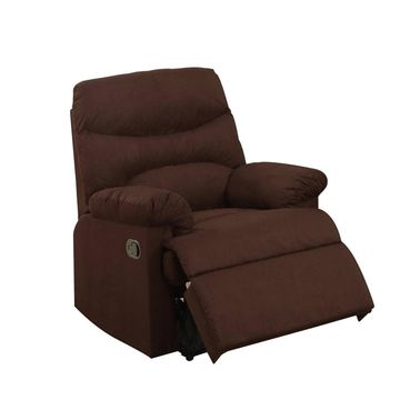 Microfiber Recliner With Cushioned Seat - Benzara