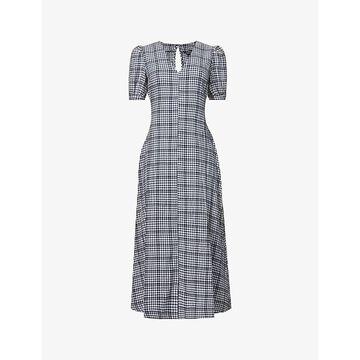 Whistles Womens Multicolour Tabitha Check-print Stretch-cotton Midi Dress 6