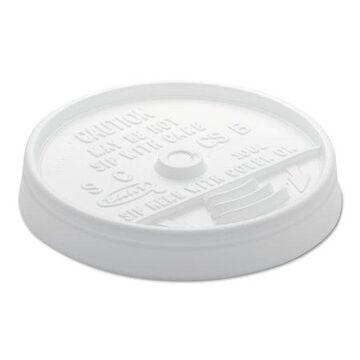 Dart Sip Thru Lids For 10, 12 oz Foam Cups, Plastic, White, 1000/Carton