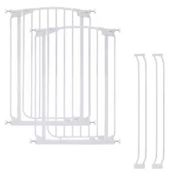 Dreambaby Chelsea Tall Auto Close Stay Open Security Gate in White (Set of 2)