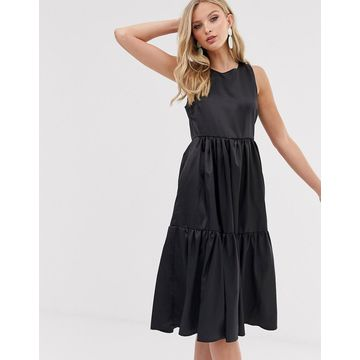 Y.A.S satin tiered midi smock dress with low back