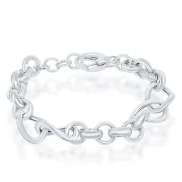 La Preciosa Sterling Silver Italian Alternating Rolo & Twisted Oval Linked High Polished 7+1'' Bracelet
