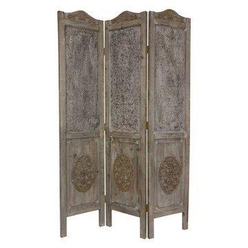 Oriental Furniture 6 Ft Tall Closed Mesh Design Room Divider, Vintage design, European style, 3 panel, mesh Grey color