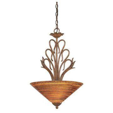 Swan Pendant W/3 Bulbs Bronze Finish W/16