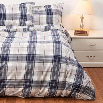 Peacock Alley Made in Portugal Plaid Cotton Flannel Duvet Set - King, Navy-Grey-Burgundy