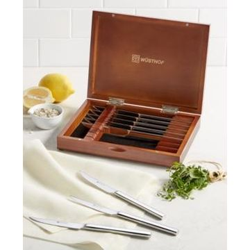 Wusthof Stainless 8pc Steak Knife Set in Walnut Chest, Created for Macy's