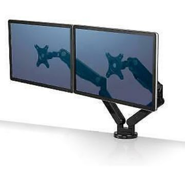 Fellowes Platinum Series Dual Monitor Arm - 40 lb Load Capacity - Black