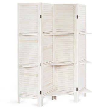 Goplus 4 Panel Folding Room Divider Screen W/3 Display Shelves 5.6 Ft Tall White | HW61486WH