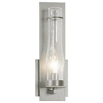 New Town Medium Seeded Glass Wall Sconce by Hubbardton Forge - Color: Clear - Finish: Silver - (204250-1018)