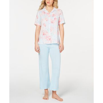 Printed Top and Pastel Pants Pajama Set