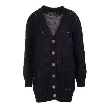 Blumarine Long Cardigan In Black Wool With Roses Embroidery