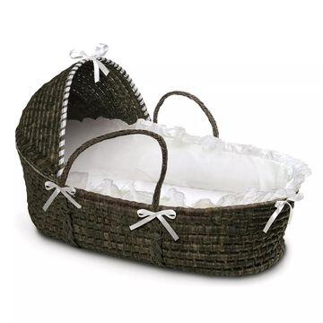 Badger Basket& Maize Hooded Moses Basket in Espresso