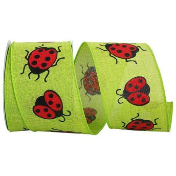 """JAM Paper 2.5"""" Faux Linen Wired Lime Ladybug Ribbon   Michaels"""