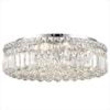 Worldwide Lighting Cascade 20-in Chrome Crystal Flush Mount Light